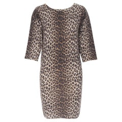 LANVIN ELBAZ 2010 100% wool brown leopard spot 3/4 sleeve knit sweater dress XS
