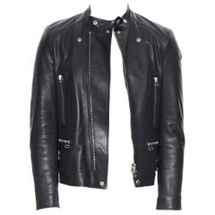 LANVIN ELBAZ black calfskin leather silver hardware motorcycle biker jacket EU44