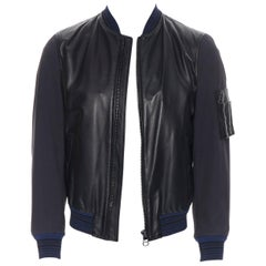 LANVIN ELBAZ black contrast lamb leather front MA1 detail bomber jacket EU44 XS