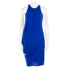 Lanvin Electric Blue Silk Sleeveless Draped Dress S