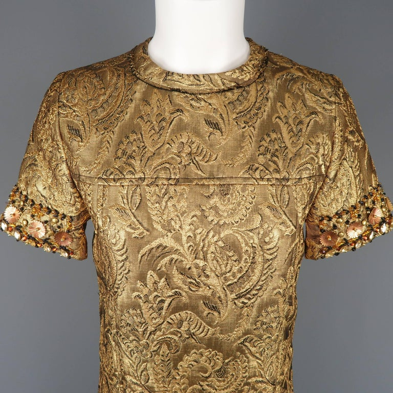 Lanvin Embellished Gold Metallic Brocade Cocktail Dress, Spring 2014 Runway In New Condition For Sale In San Francisco, CA