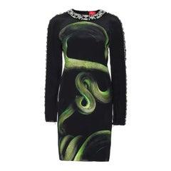 LANVIN EMBELLISHED SNAKE PRINT SILK DRESS FR Size 36