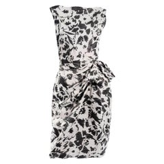 Lanvin Ete 2011 Alber Elbaz Gray and Black Abstract Print Crinkle Sheath Dress