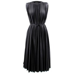 Lanvin Faux Leather Pleated Midi Dress