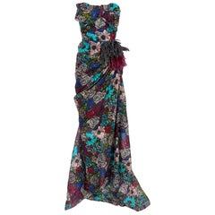 Lanvin Floral print long bustier dress