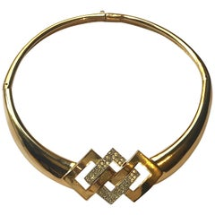 Lanvin France Gold & Rhinestone 1970s Collar Necklace