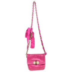 Lanvin Fuchsia Leather Mini Happy Crossbody Bag