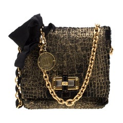 Lanvin Gold/Black Calfhair Mini Happy Crossbody Bag