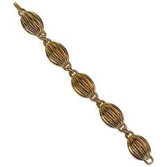 Lanvin Gold Dome Oval Link 1980s Bracelet by Henkel & Grosse'