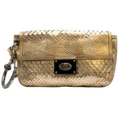 Lanvin Gold Python Leather Wristlet Clutch 10cm