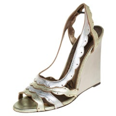 Lanvin Gold/Silver Leather Slingback Wedge Sandals Size 38