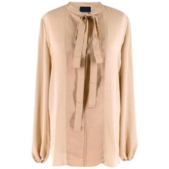 Lanvin Gold Textured Pussy Bow Blouse S