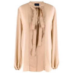 Lanvin Gold Textured Pussy Bow Blouse - Size S