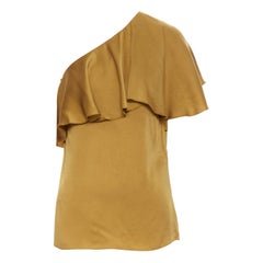 LANVIN gold viscose acetate layered one shoulder evening top FR36 XS