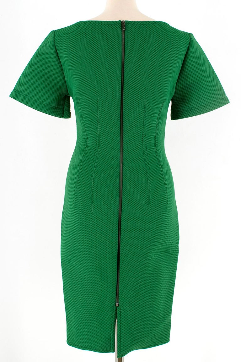 Lanvin Green Fitted Mesh Dress SIZE M In Excellent Condition For Sale In London, GB