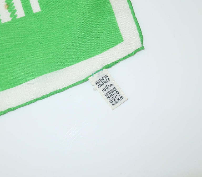 Lanvin Green & White Silk Scarf, 1970's For Sale 7
