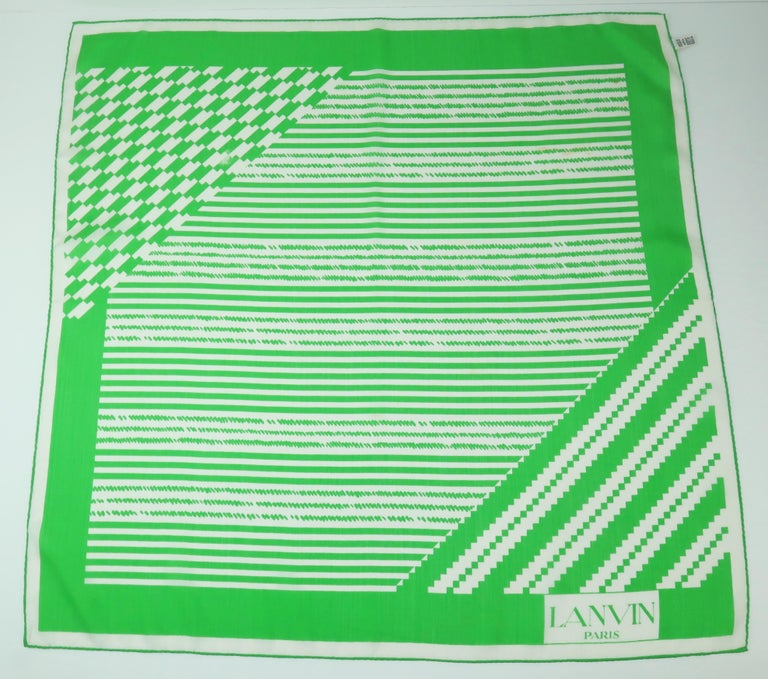 Crisp green and white Lanvin silk scarf with the weight and feel of fine cotton.  Perfect for warm weather seasons and locales.  Measures 22.5