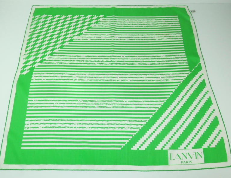 Lanvin Green & White Silk Scarf, 1970's In Fair Condition For Sale In Atlanta, GA