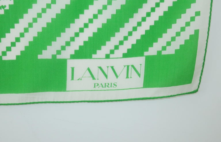 Women's Lanvin Green & White Silk Scarf, 1970's For Sale