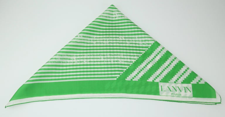 Lanvin Green & White Silk Scarf, 1970's For Sale 1