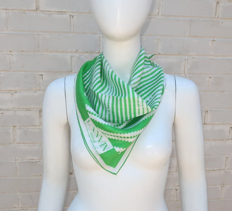 Lanvin Green & White Silk Scarf, 1970's For Sale 2