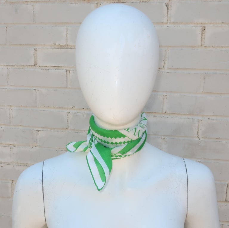 Lanvin Green & White Silk Scarf, 1970's For Sale 3