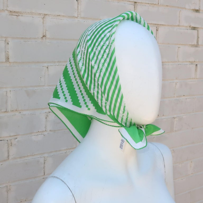 Lanvin Green & White Silk Scarf, 1970's For Sale 4