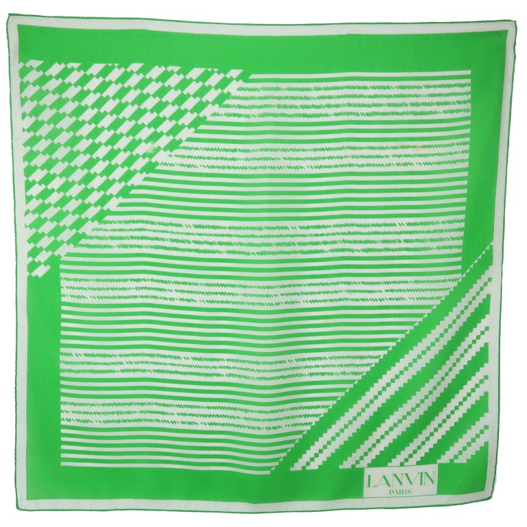 Lanvin Green & White Silk Scarf, 1970's For Sale