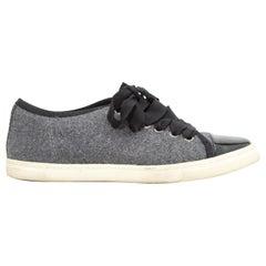 Lanvin Grey & Black Wool & Leather Low-Top Sneakers