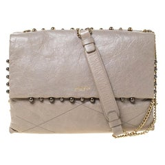 Lanvin Grey Leather Sugar Beads Shoulder Bag