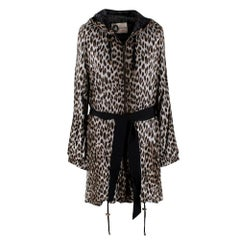 Lanvin Grey Leopard Print Hooded Tie Belt Longline Jacket - Size S