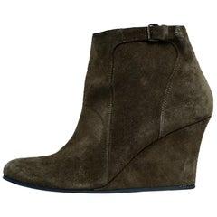 Lanvin Grey Suede Ankle Boots w/ Wegde sz 39