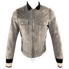 LANVIN Grey Suede Jacket - Men's Size US 38 / IT 48