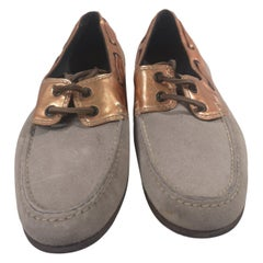 Lanvin grey suede rose gold leather loafers NWOT