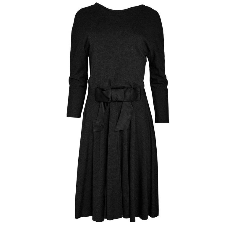 Lanvin Grey Wool Long Sleeve Fit Flare Dress sz FR44 rt. $1,530