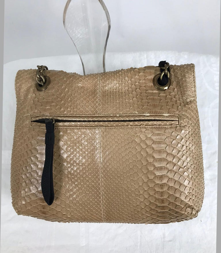 Lanvin Happy Blond Python Black Trim Shoulder Bag  In Good Condition For Sale In West Palm Beach, FL