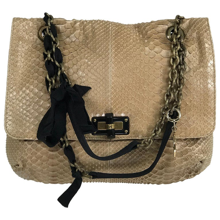 Lanvin Happy Blond Python Black Trim Shoulder Bag  For Sale