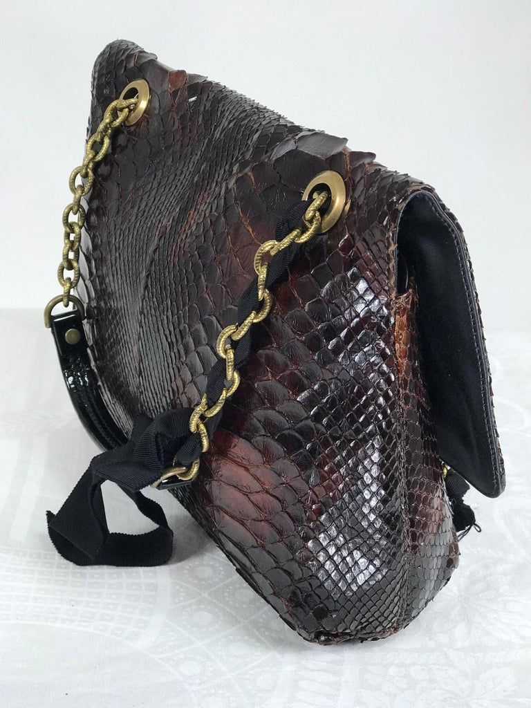 Lanvin Happy Red Python Black Trim Shoulder Bag  In Good Condition For Sale In West Palm Beach, FL