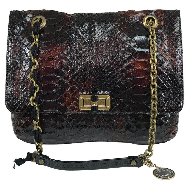 Lanvin Happy Red Python Black Trim Shoulder Bag  For Sale
