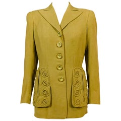 Lanvin Haute Couture May 1944 Spring Green Wool Jacket for Collector or Designer