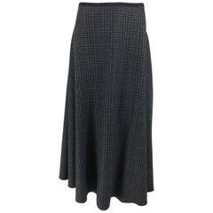 Lanvin Hiver 2015 Wool Plaid Bias Cut Skirt 42