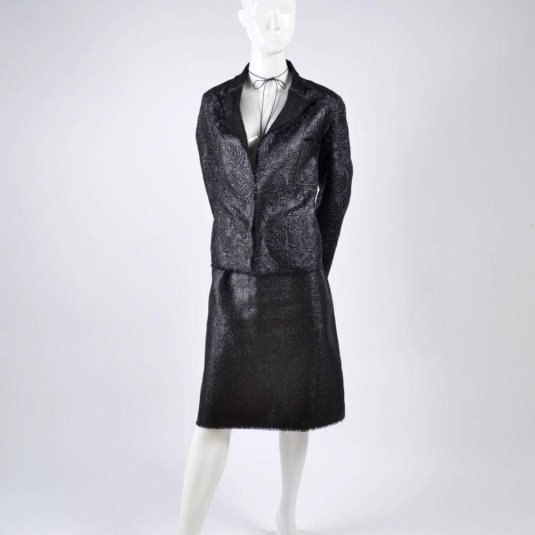 Lanvin Jacket & Skirt Suit by Alber Elbaz in Black Metallic Spring Summer 2003  For Sale 8