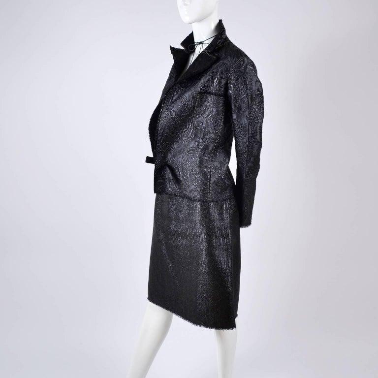 Lanvin Jacket & Skirt Suit by Alber Elbaz in Black Metallic Spring Summer 2003  For Sale 12