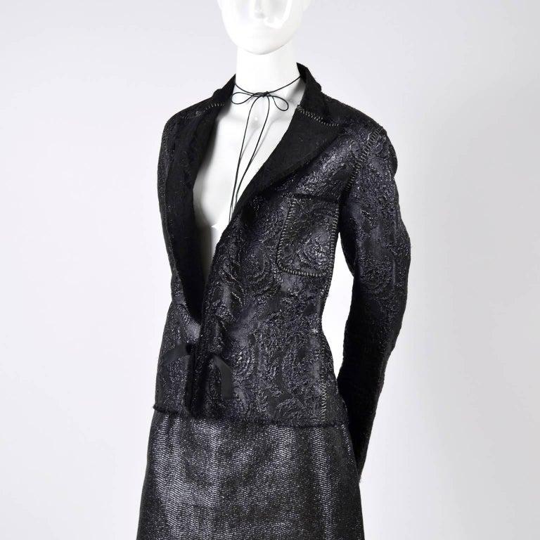 Lanvin Jacket & Skirt Suit by Alber Elbaz in Black Metallic Spring Summer 2003  For Sale 13