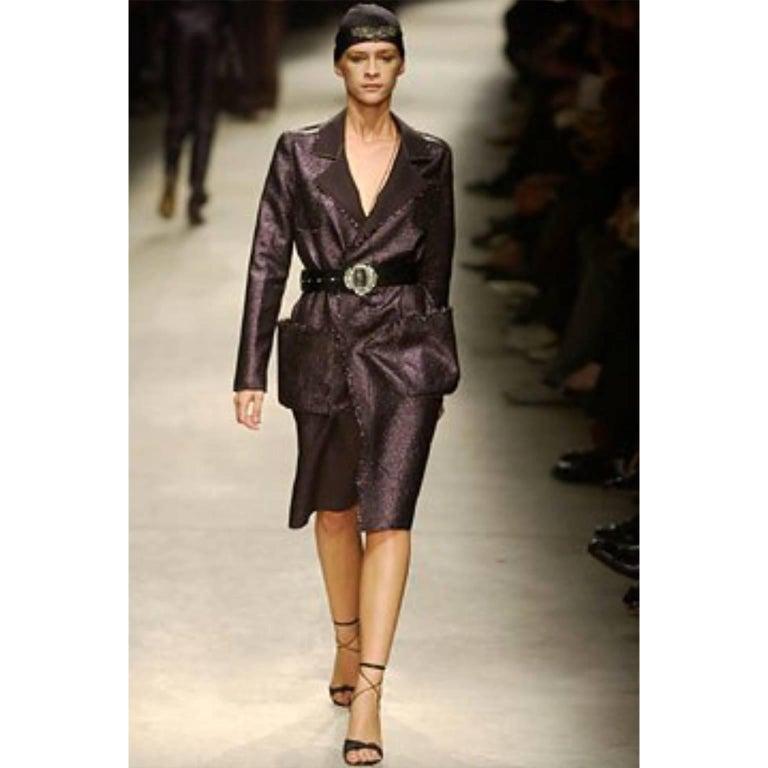 Lanvin Jacket & Skirt Suit by Alber Elbaz in Black Metallic Spring Summer 2003  For Sale 14