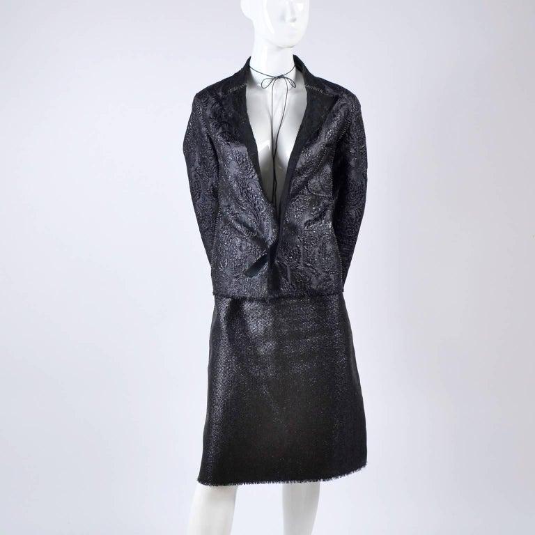 Women's Lanvin Jacket & Skirt Suit by Alber Elbaz in Black Metallic Spring Summer 2003  For Sale