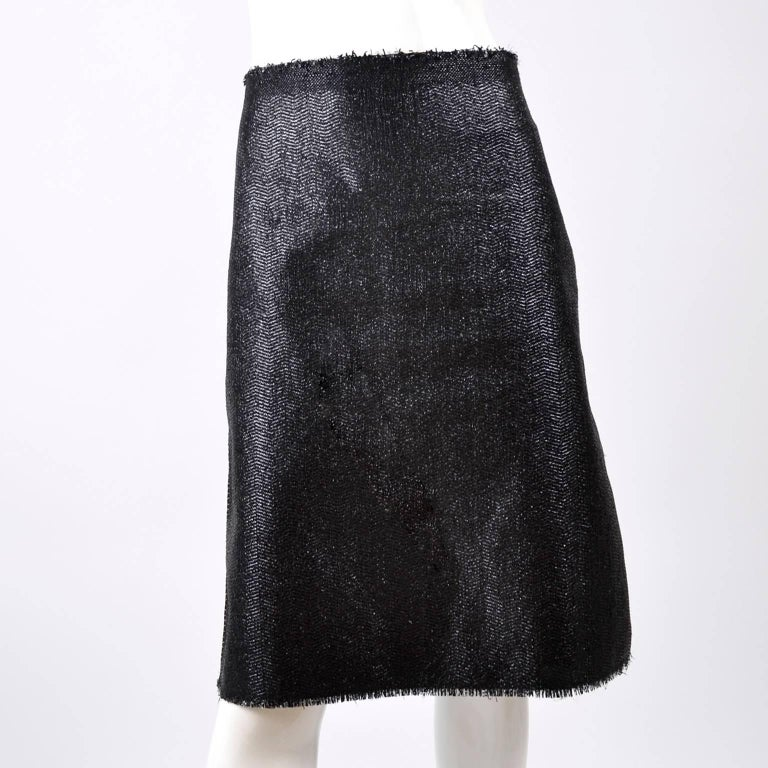 Lanvin Jacket & Skirt Suit by Alber Elbaz in Black Metallic Spring Summer 2003  For Sale 4