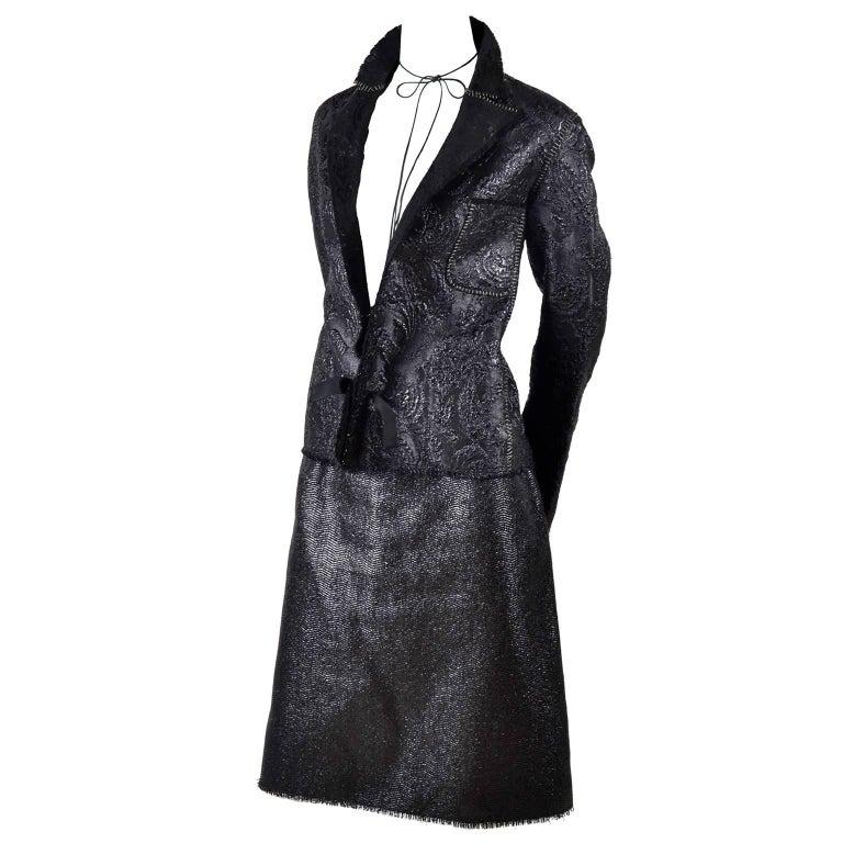 Lanvin Jacket & Skirt Suit by Alber Elbaz in Black Metallic Spring Summer 2003  For Sale