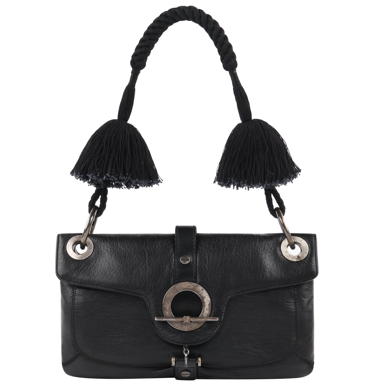"LANVIN ""Jeanne"" Black Leather Braided Pom Pom Tassel Strap Flap Clutch Handbag"