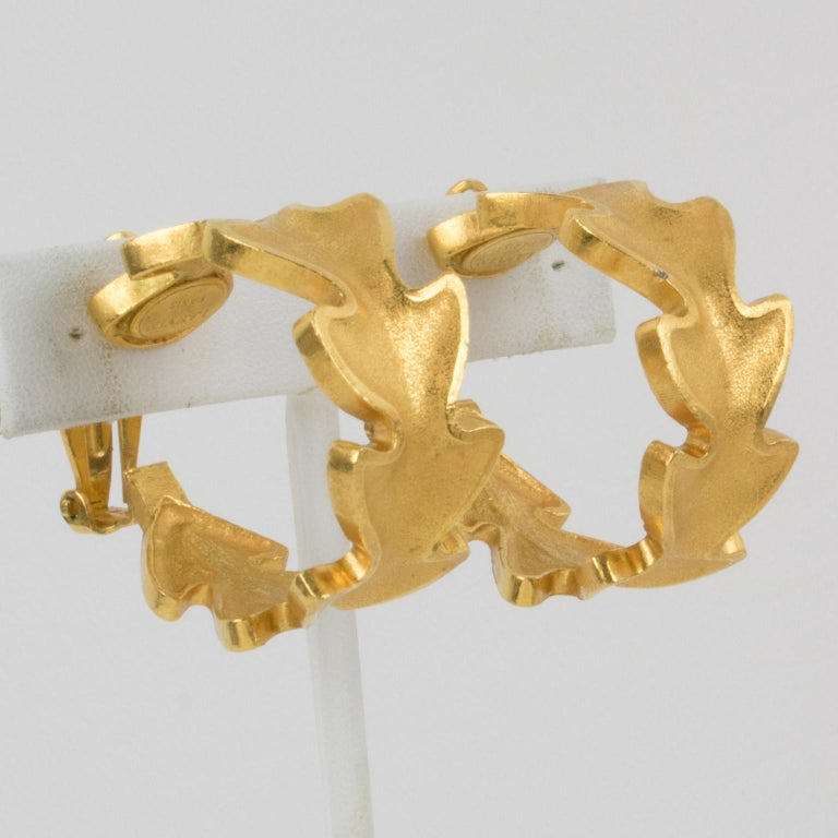 Lanvin Large Hoop Clip Earrings Gilt Leaves In Excellent Condition For Sale In Atlanta, GA